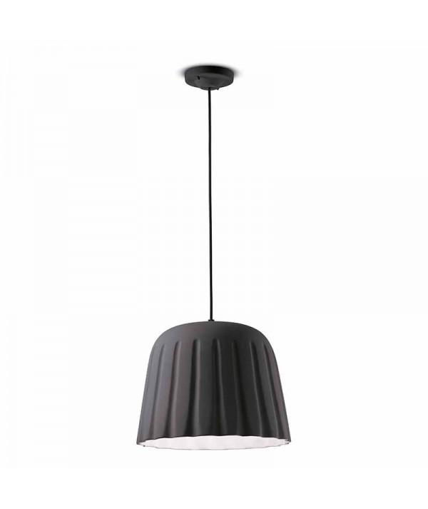 lampada a sospensione di ferroluce in ceramica grigio nerastro