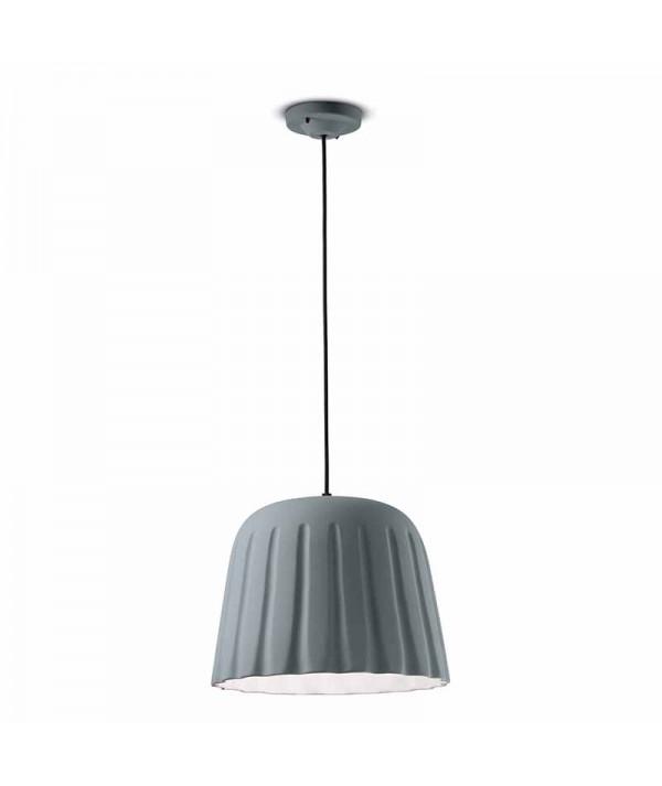 lampada a sospensione di ferroluce in ceramica  grigio tele