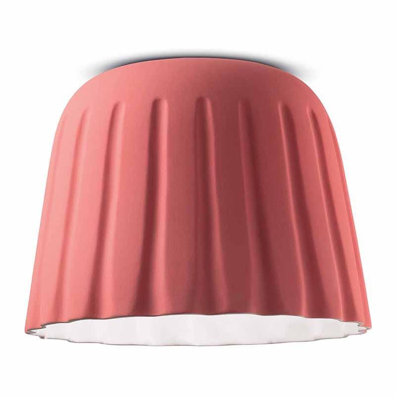 lampada a soffitto di ferroluce in ceramica  rosa corallo