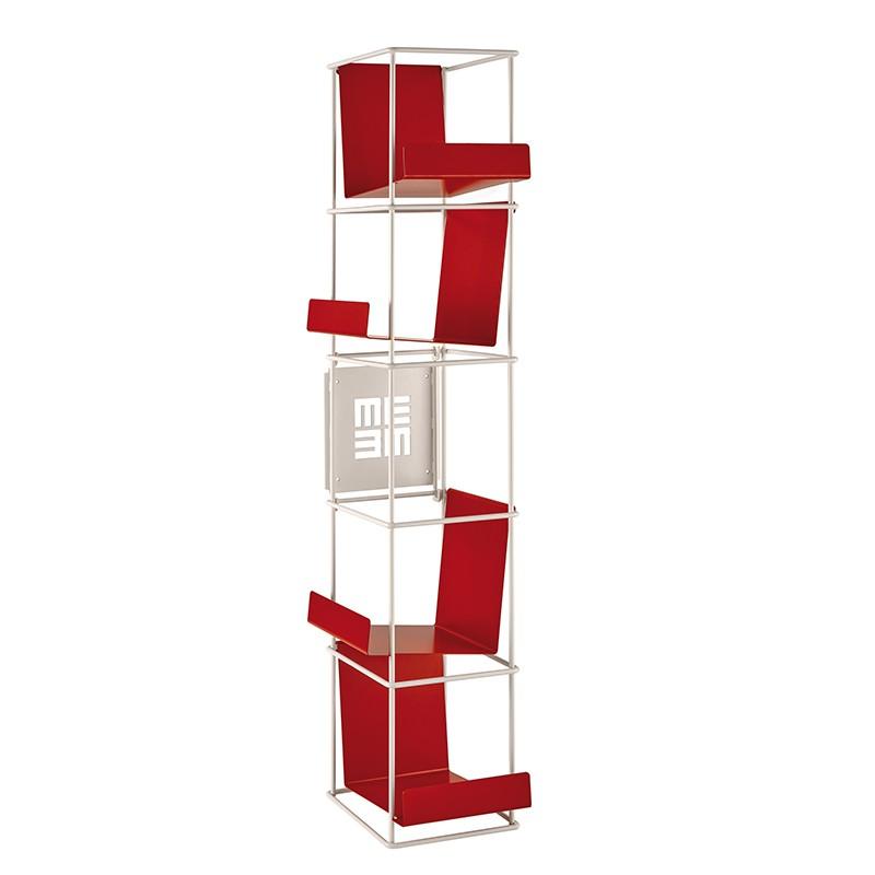 Libreria a muro Libro Verticale in metallo bianco con mensole rosse di memedesign