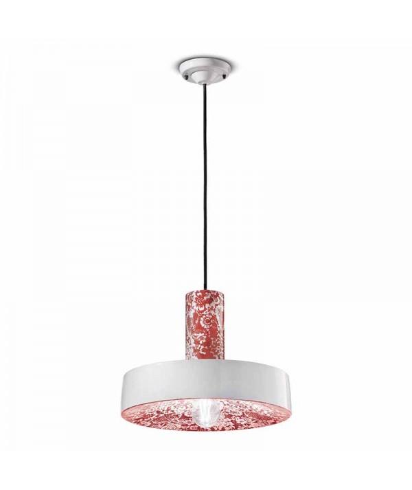 lampada a sospensione di ferroluce in ceramica rossa e bianca