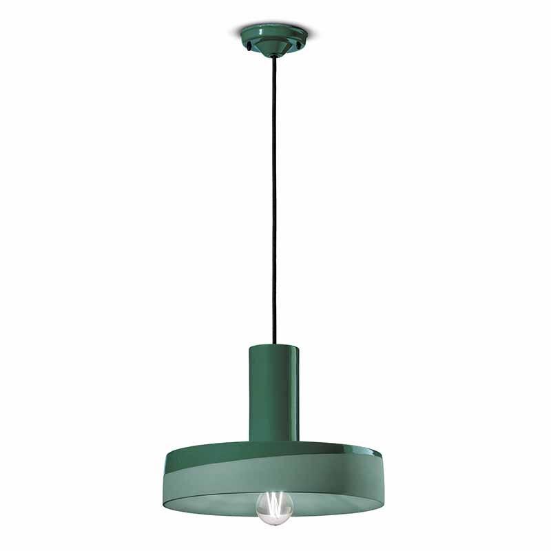 lampada a sospensione di ferroluce in ceramica verde bottiglia