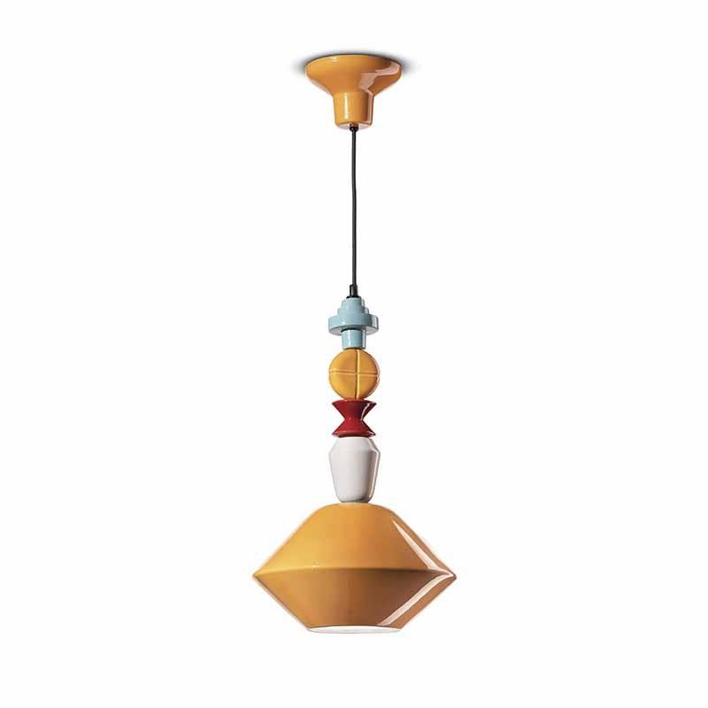 lampada a sospensione di ferroluce in ceramica giallo