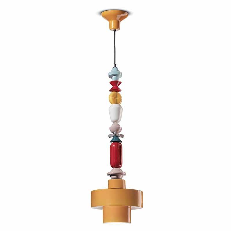 lampada a sospensione lariat di ferroluce in ceramica gialla