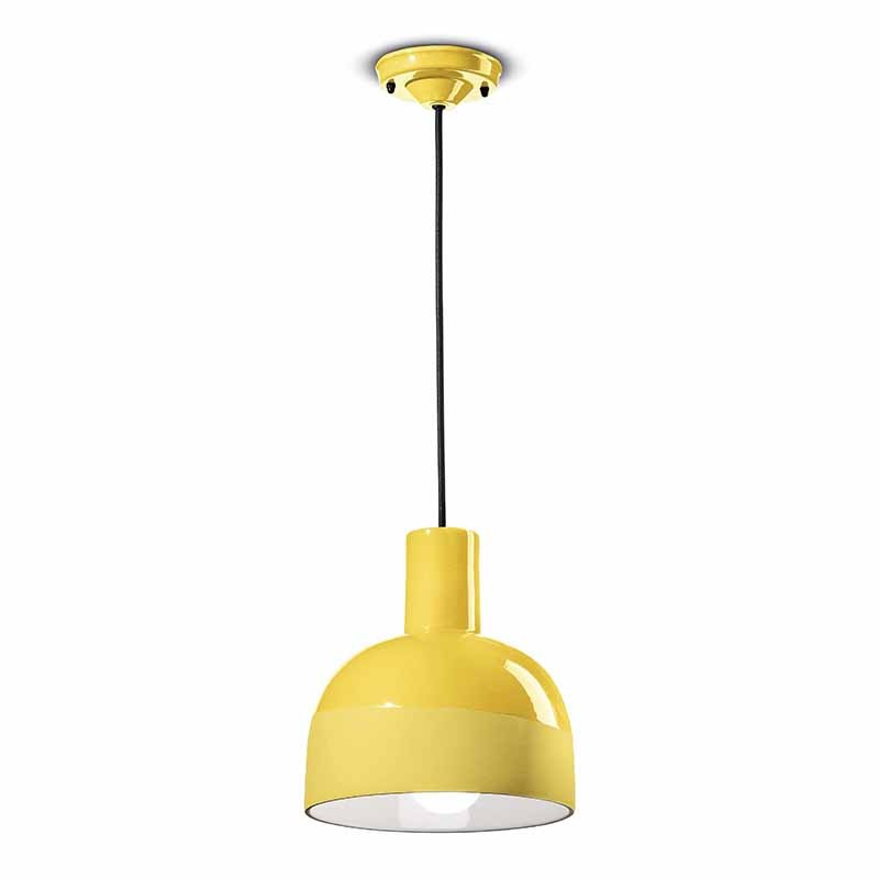 lampada a sospensione caxixi di ferroluce in ceramica  giallo