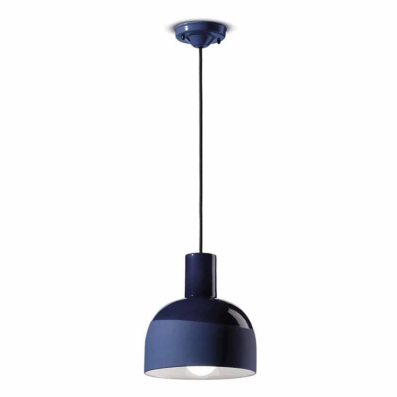 lampada a sospensione caxixi di ferroluce in ceramica blu cobalto