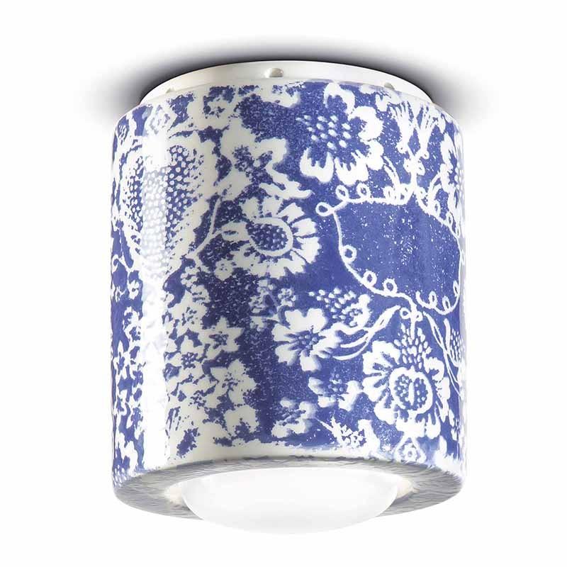 lampada a soffitto di ferroluce in ceramica decorata blu