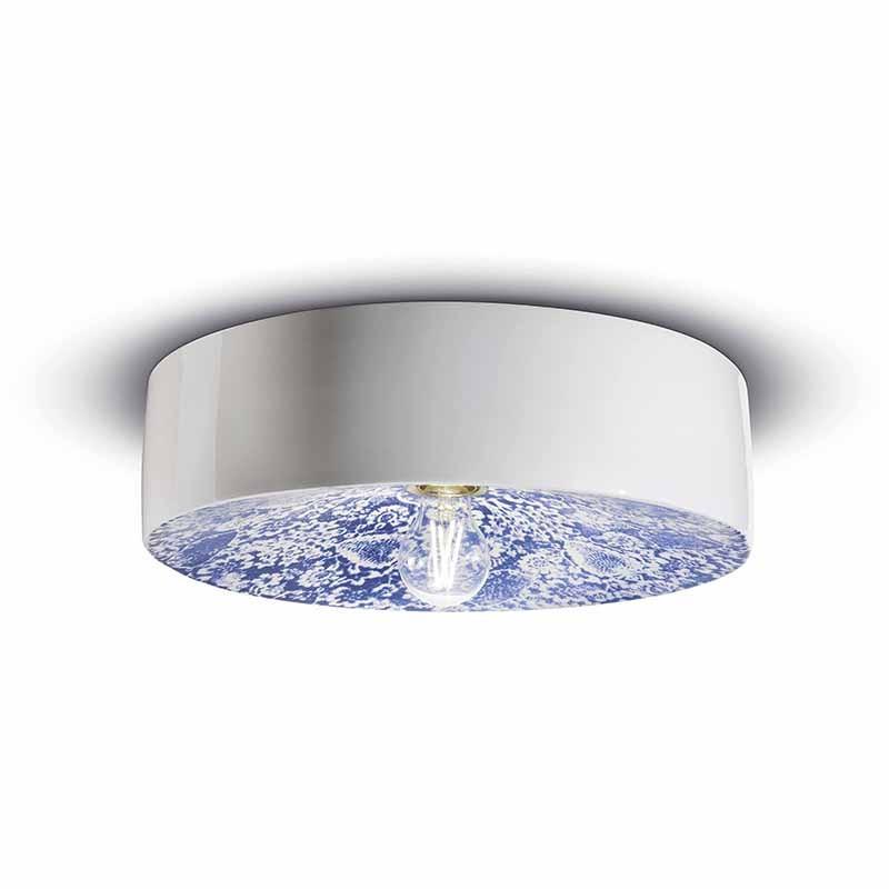 lampada a soffitto di ferroluce in ceramica blu