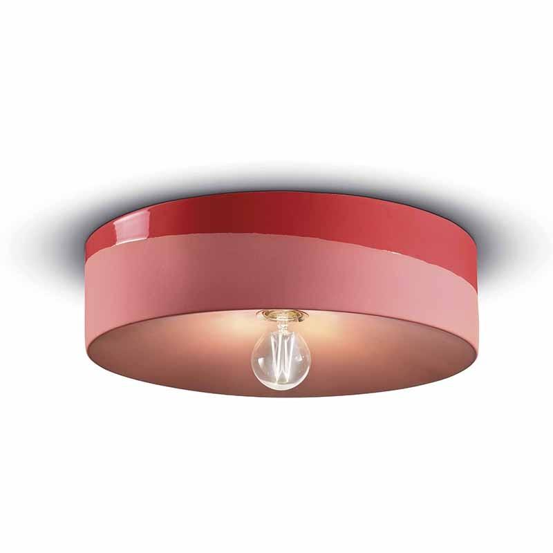 lampada a soffitto di ferroluce in ceramica rosso corallo