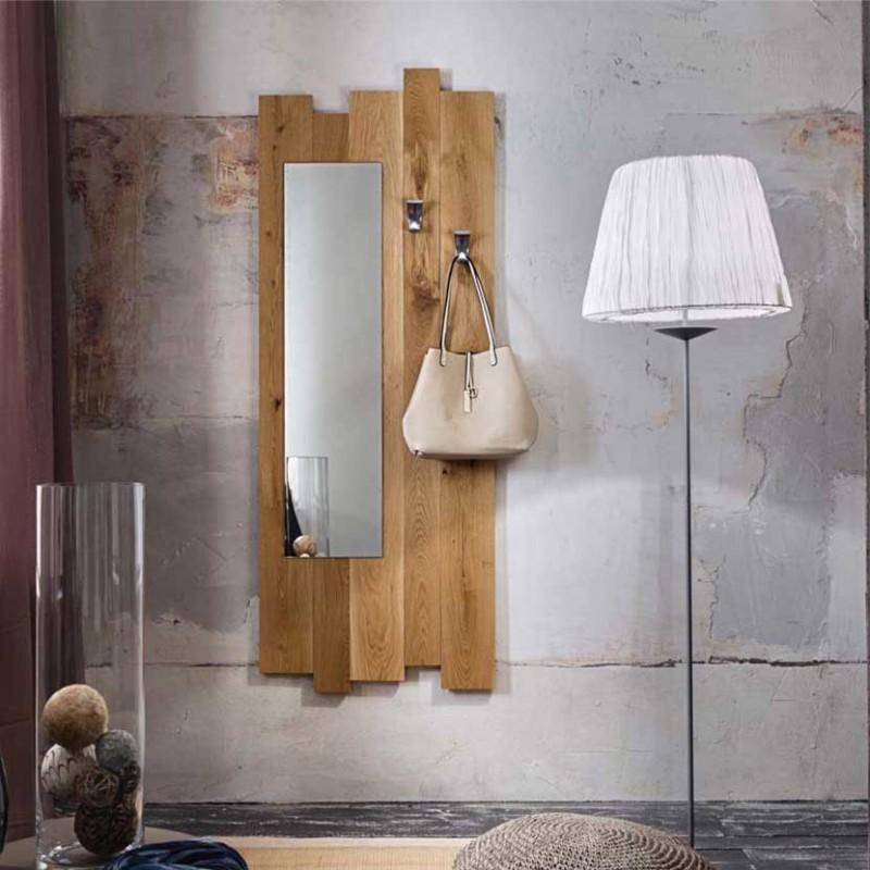 Appendiabiti con specchio Zoe in legno di rovere ambientato