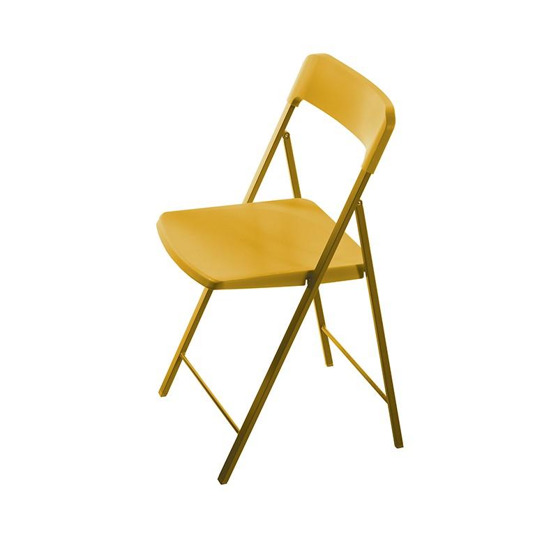 sedia pieghevole zeta di pezzani in acciaio e polipropilene giallo