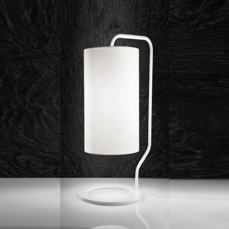 Lampada da tavolo Trendy in acciaio e tessuto bianco